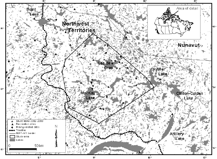Map of the study area, wolf homesites, and human