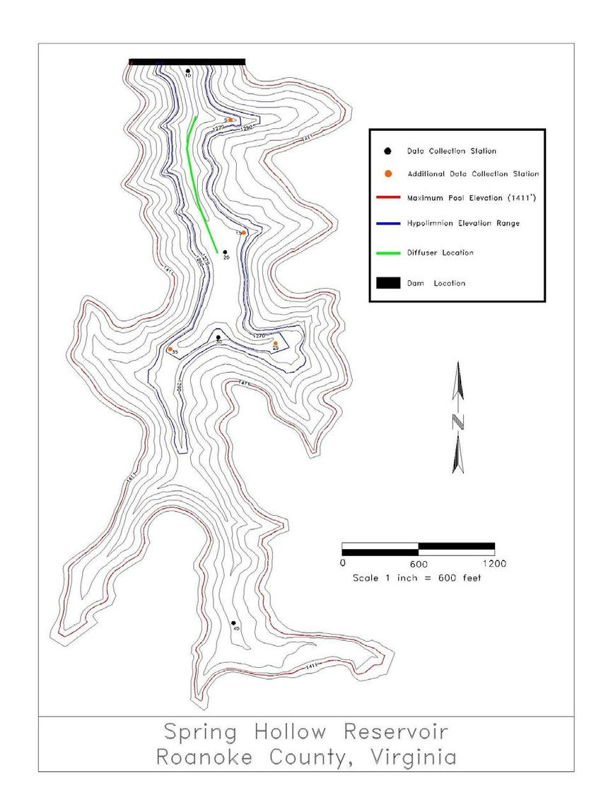 hight resolution of hypsographic map of spring hollow reservoir showing diffuser and sampling locations