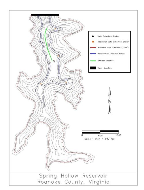 small resolution of hypsographic map of spring hollow reservoir showing diffuser and sampling locations