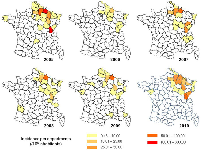 Incidence rate of hantavirus infections in France, according to ...