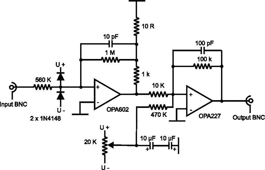 Circuit diagram of the current to voltage converter IVC