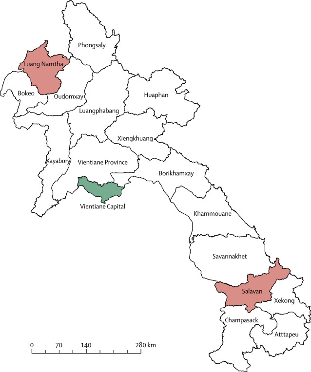 Map of Laos showing location of Vientiane and the study
