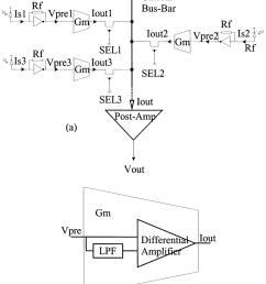 a diversity receiver block diagram b transconductance amplifier schematic  [ 850 x 1028 Pixel ]