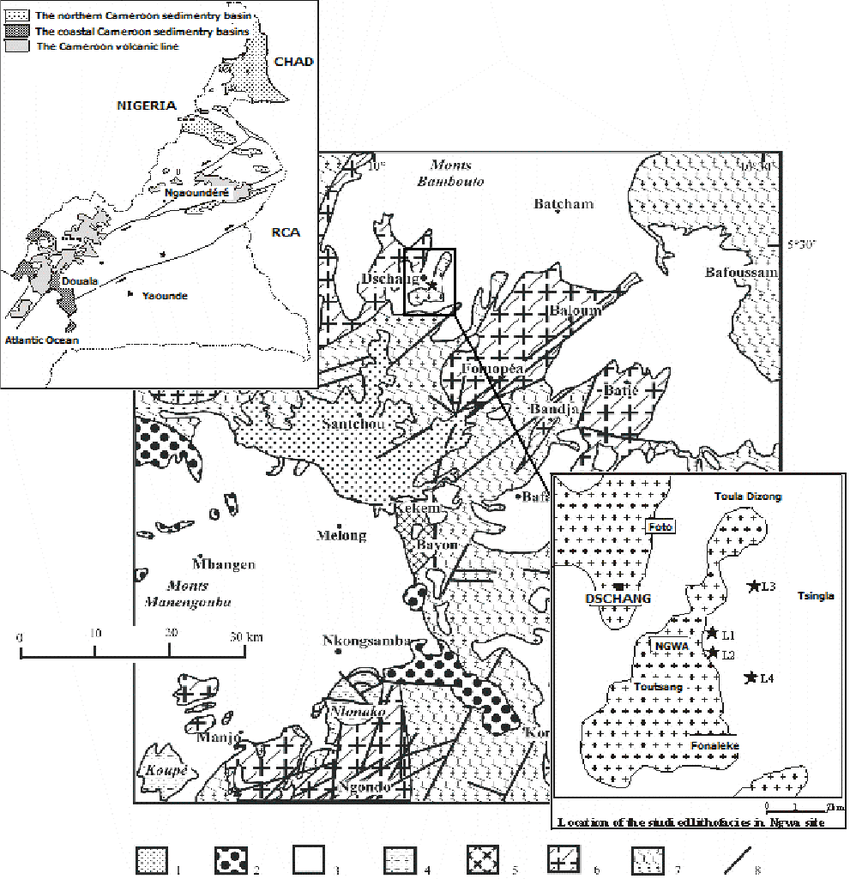 An overview of the geological map of Dschang and the study