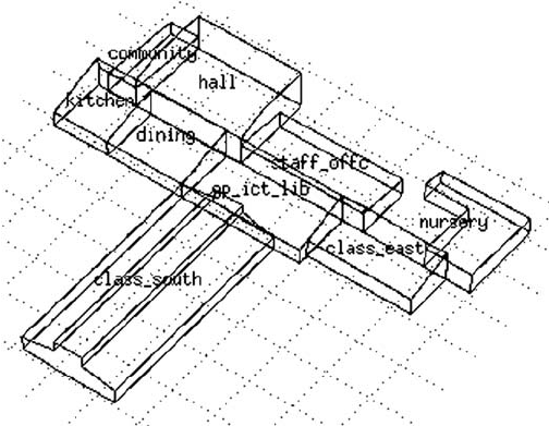 3-D wireframe overview of the building used in this study