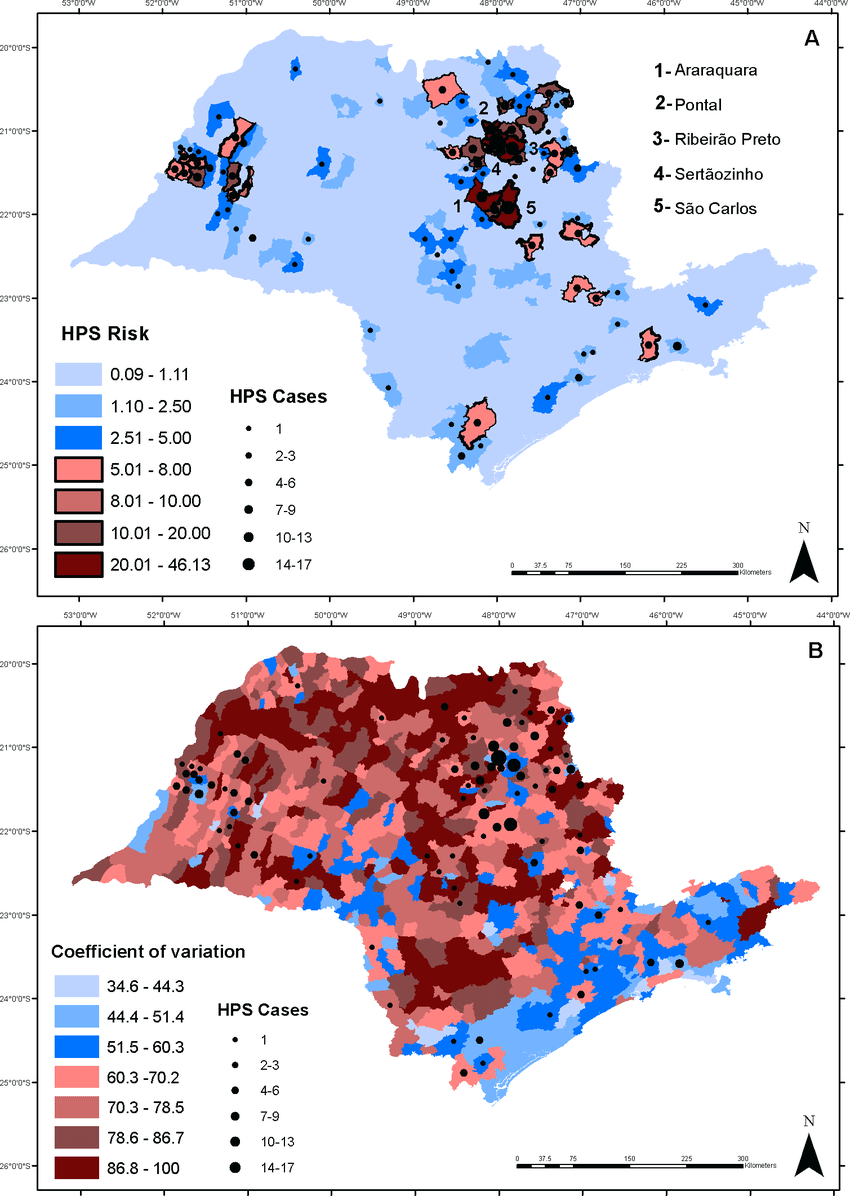 Map of Hantavirus infection probability (%) (A) mean (B) and ...