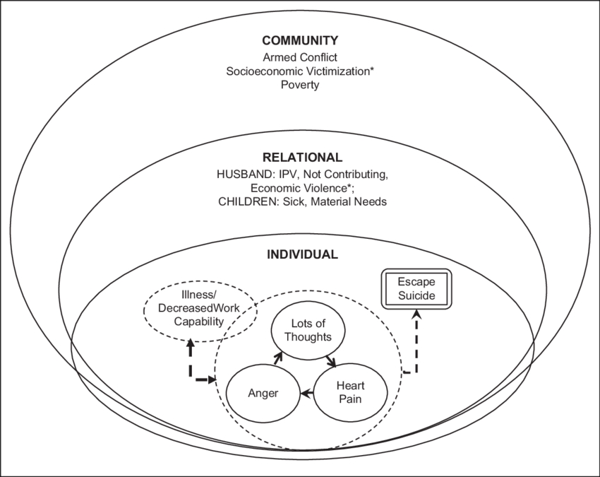Socioecological model of mental health problems of IPV