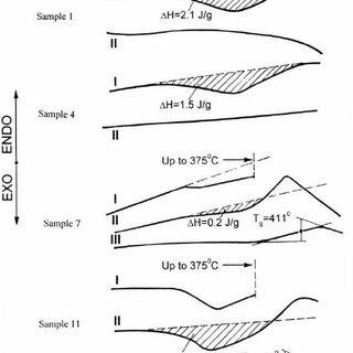 DSC data: the heating rate vs. temperature dependencies