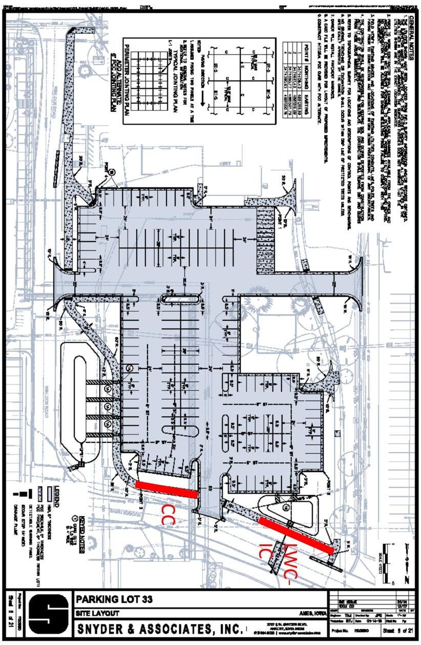 medium resolution of site plan of the constructed sidewalk