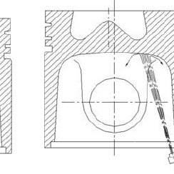 Piston cooling gallery configurations. ( a ) Schematics of