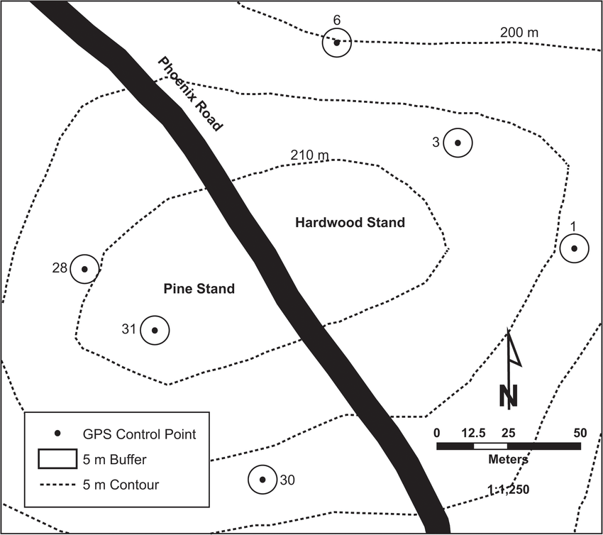 The surveyed control points, with a 5 m buffer shown