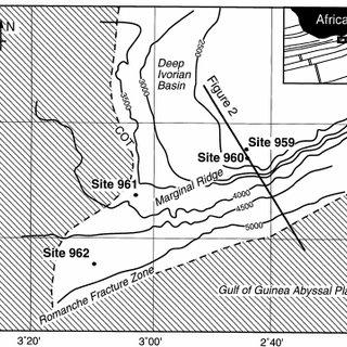 Bathymetric map of the Côte d'Ivoire–Ghana margin showing