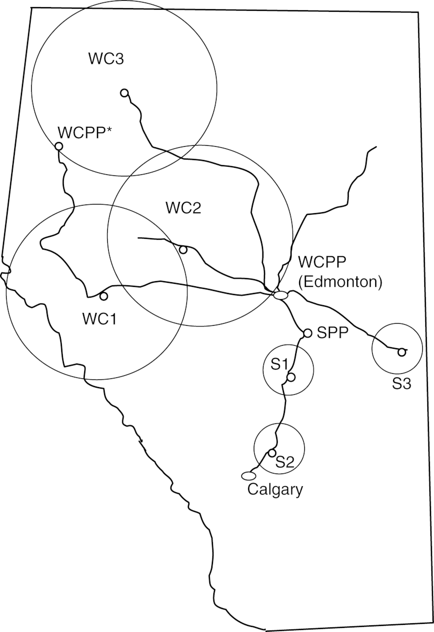 Map of Alberta showing existing rail lines related to two
