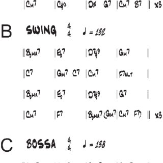 chord progressions for (a) blues, (B) swing, and (c) bossa