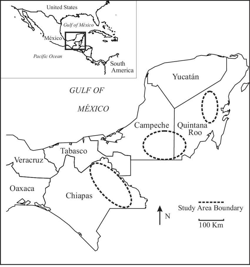 General location of study areas in southeastern Mexico