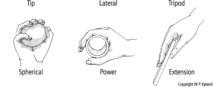 Six grip classifications used in Southampton Hand