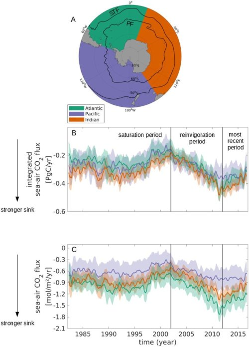 small resolution of the evolution of the southern ocean carbon sink by sectors between 35 s and the