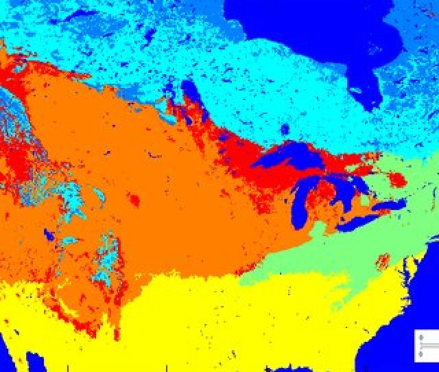 A Snow Cover Classification Image Covers Study Area Continental Usa Contains 6 Classes Including