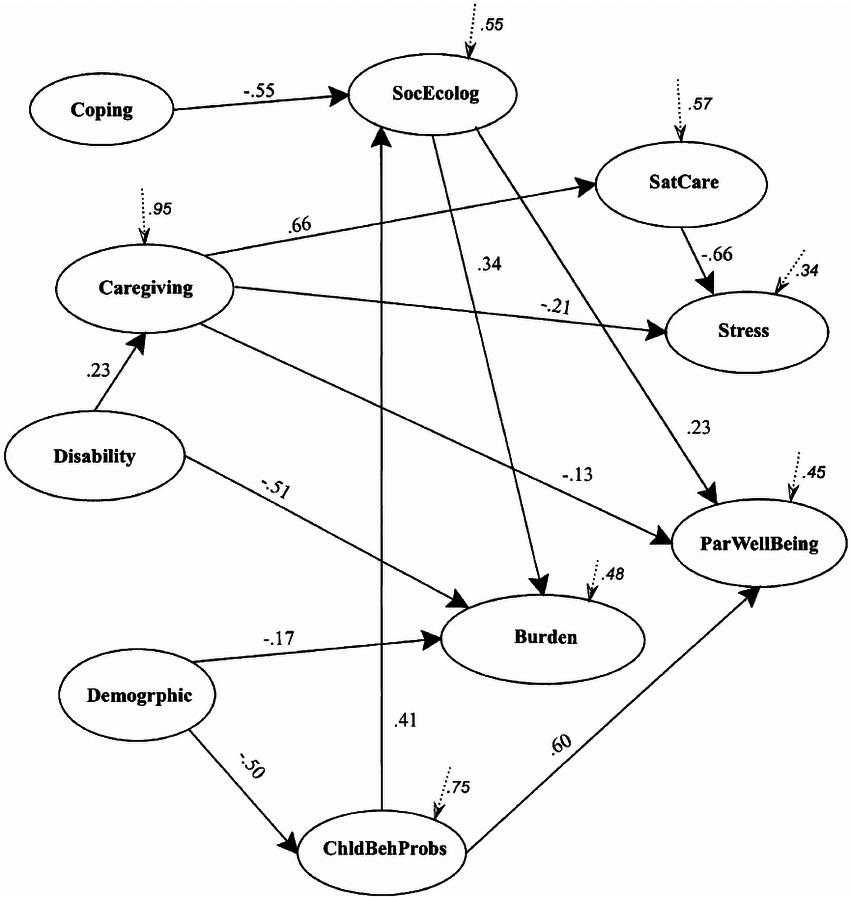 Path diagram of factors influencing psychosocial outcomes