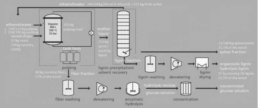 Schematic process flow sheet of the lignocellulosic