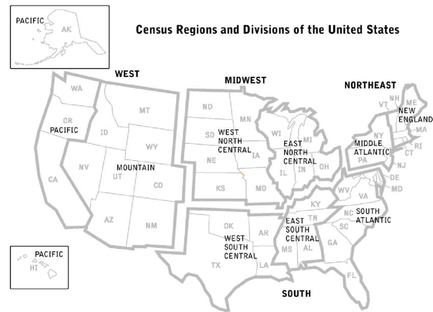 A map of the United States with the U.S. Census Bureau