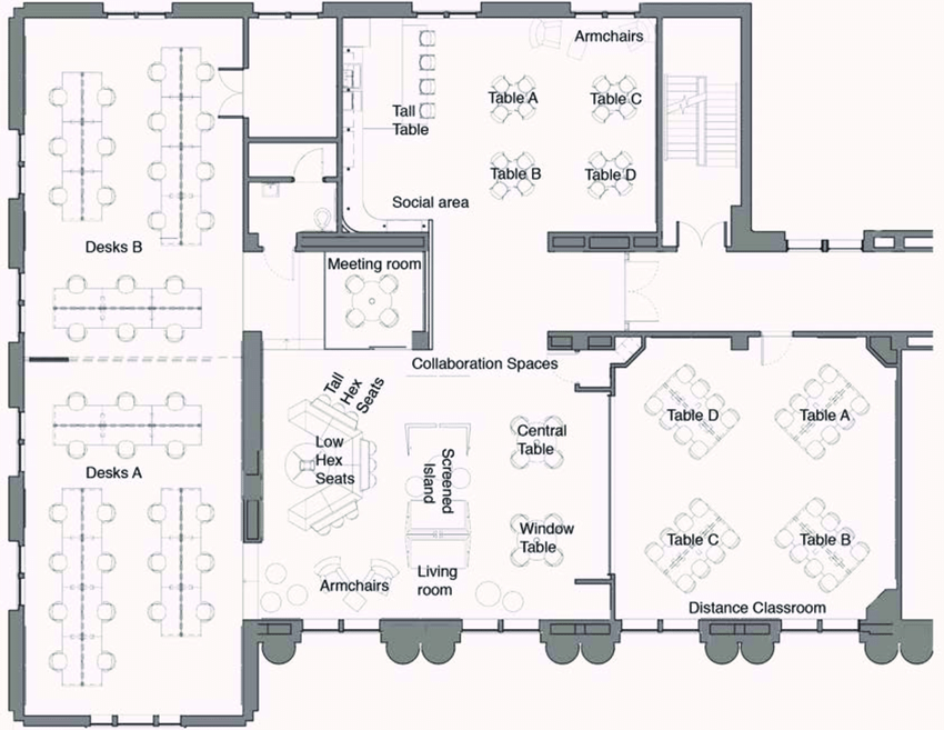 Floor plan of the graduate design to support individual