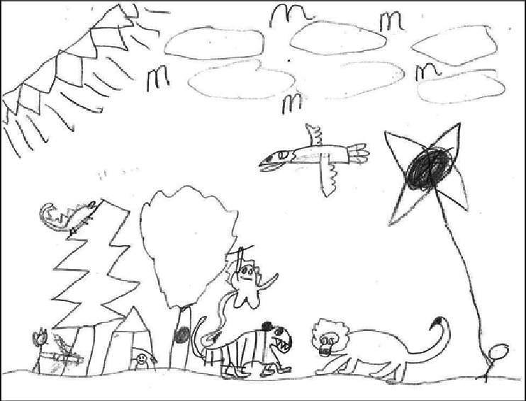 Non-specific nature drawing: combination of imagined and
