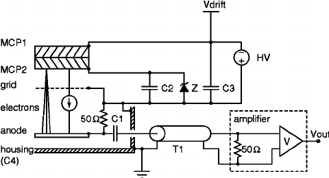 Schematic of the electronic circuit of the detector. The