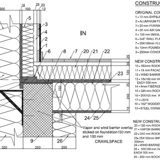 Schematic selected details for wall/roof including