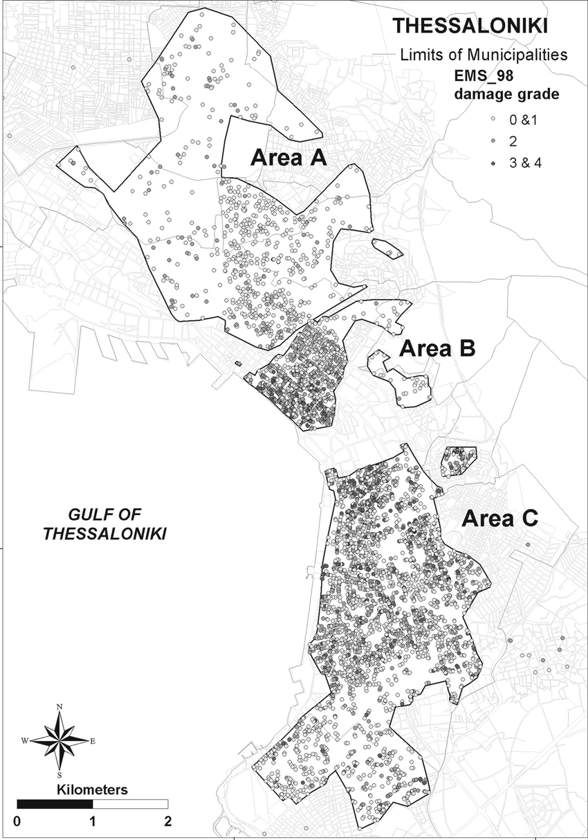 Spatial distribution of the merged EMS-98 damage grades