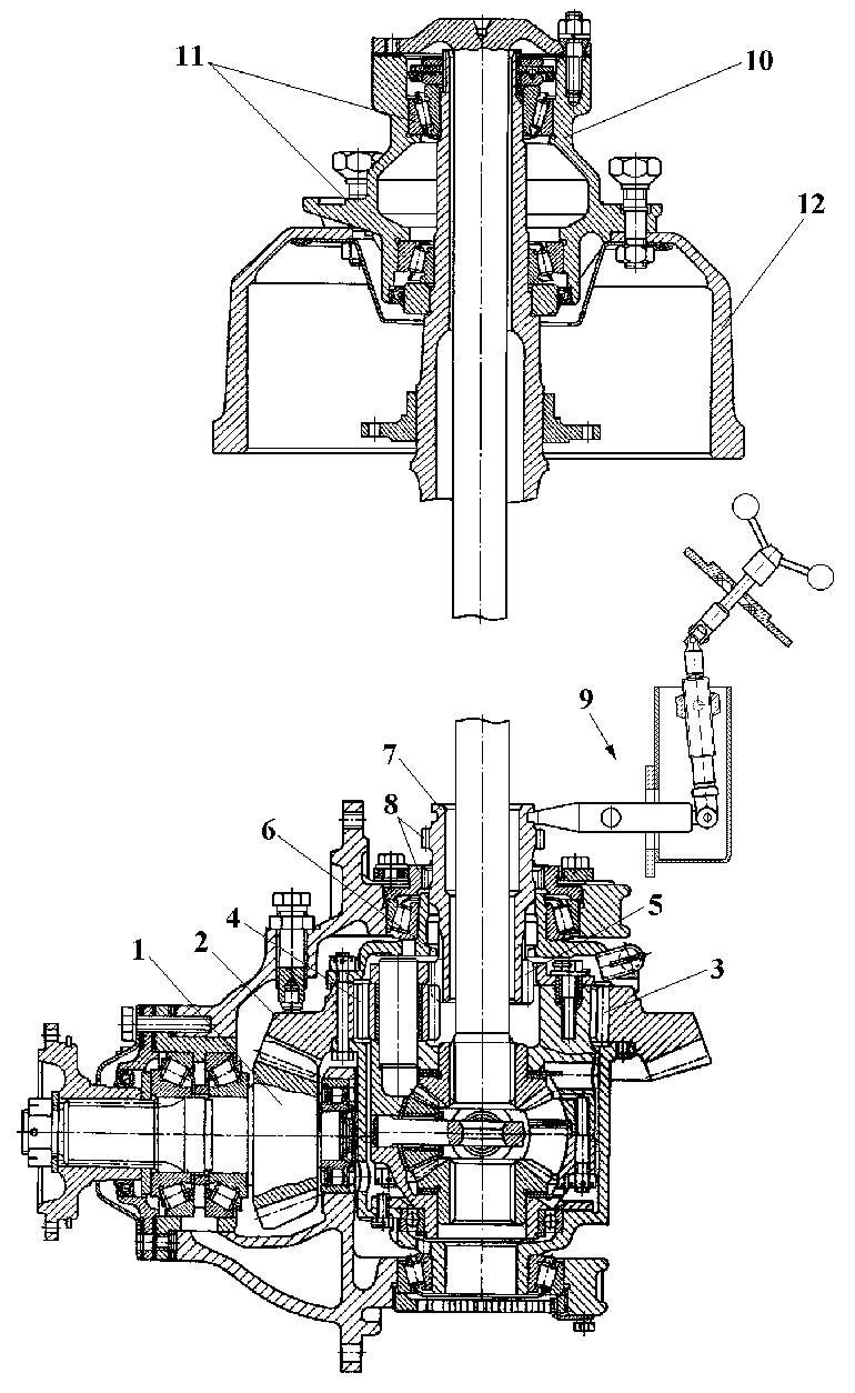 Schematic of the bearings, differential and gear reducer