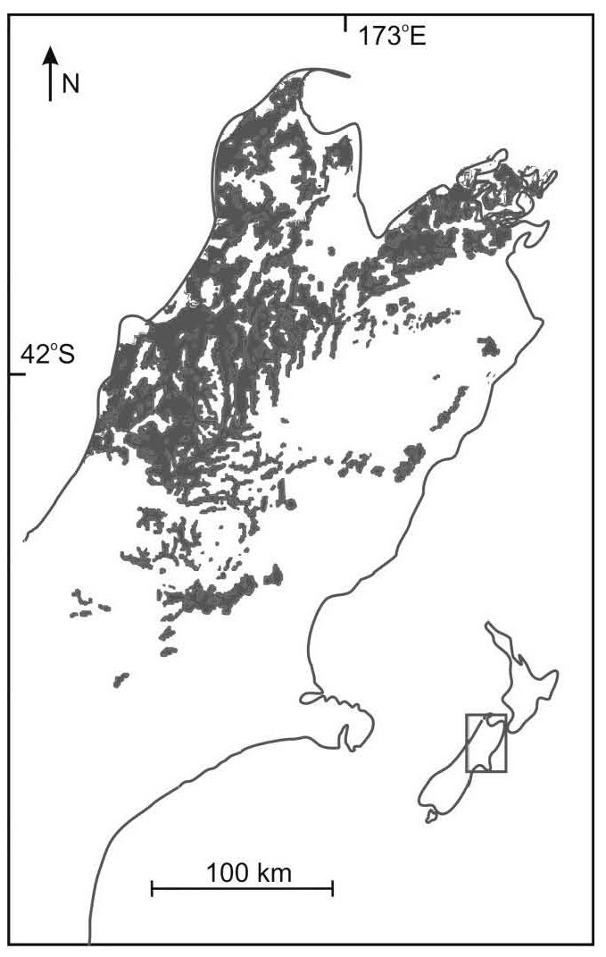 The approximate distribution of honeydew beech forest and