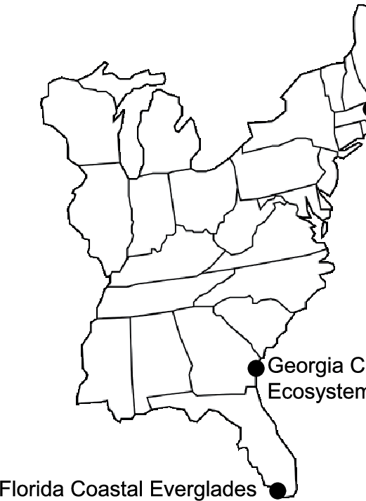 map of the eastern united States showing the locations of