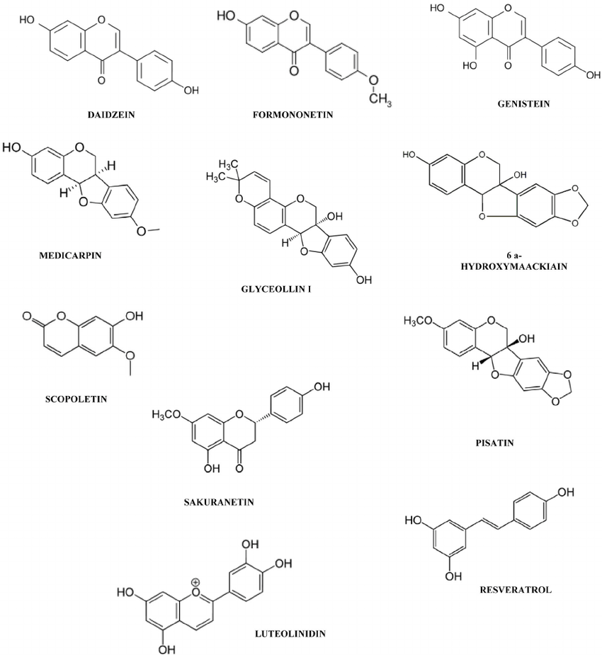Chemical structures of some phytoalexins cited in this