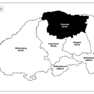 b. Shows map of the Sekhukhune district in Limpopo