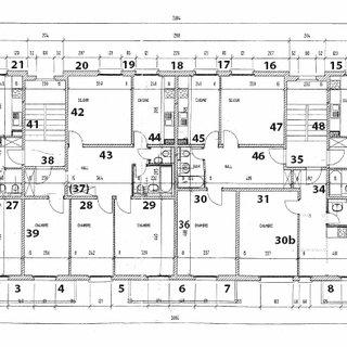 Plan d'étage du bâtiment étudié (sens X-X : Longueur, sens