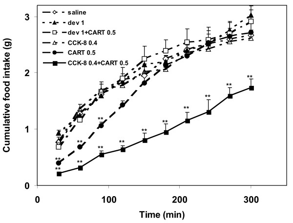 Cumulative food intake of 17-h fasted mice after
