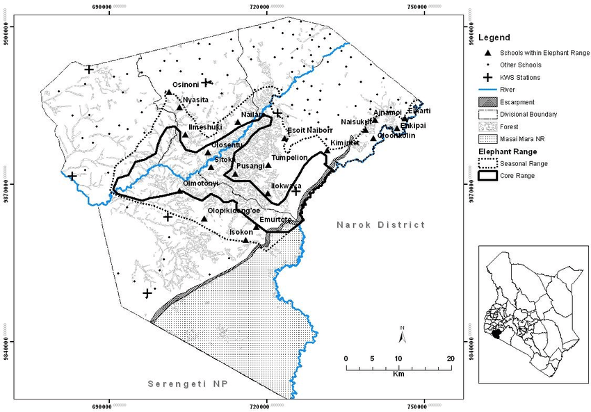 Map of Transmara District showing the location of primary