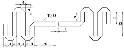 Layout view of meander dipole test antenna As for the main