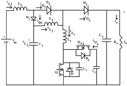 Power circuit of the cascaded boost converter with active