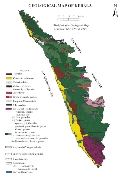 Geological map of Kerala After GSI 1973 amp 1995