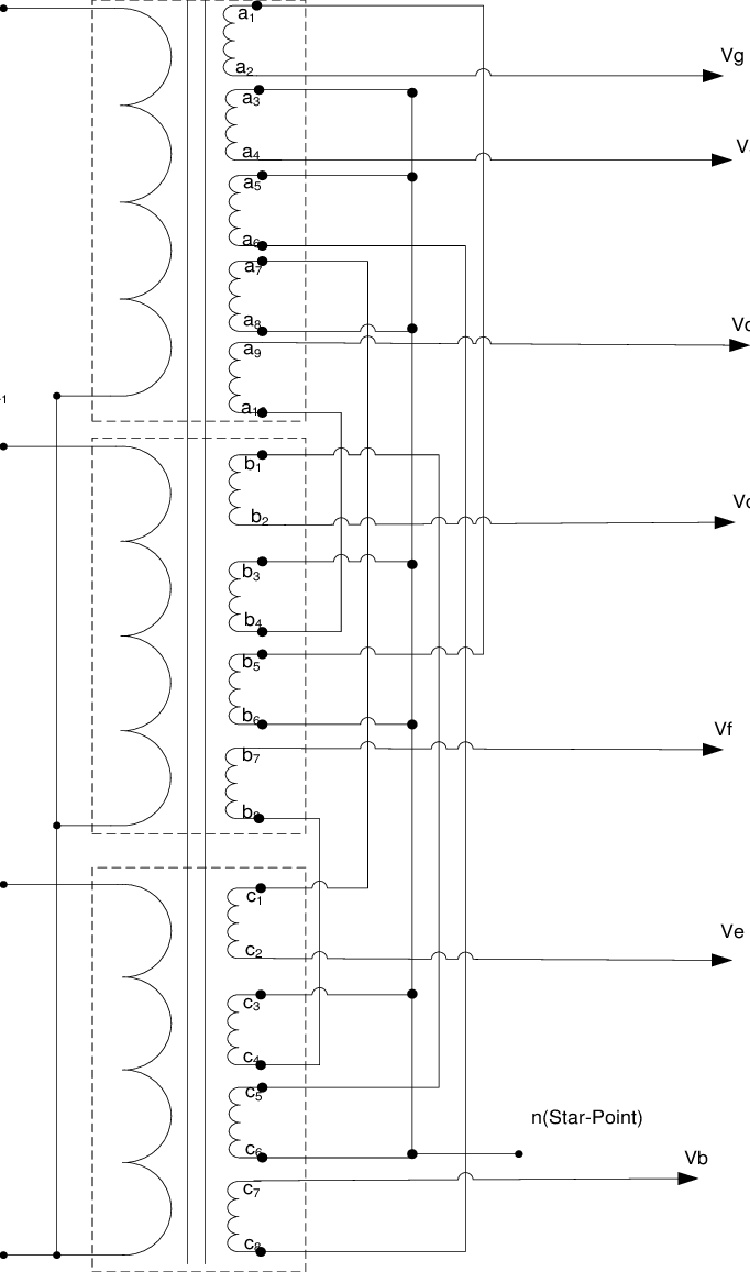 hight resolution of connection diagram of three phase to seven phase transformer
