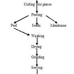 Process flowchart for pomegranate peel powder preparation