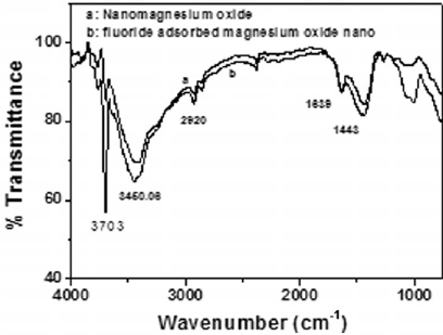FT-IR spectra of nano-MgO before (a) and after (b
