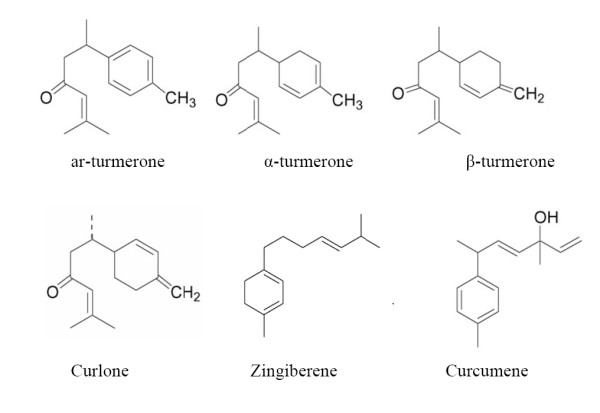 The chemical structures of the major constituents obtained