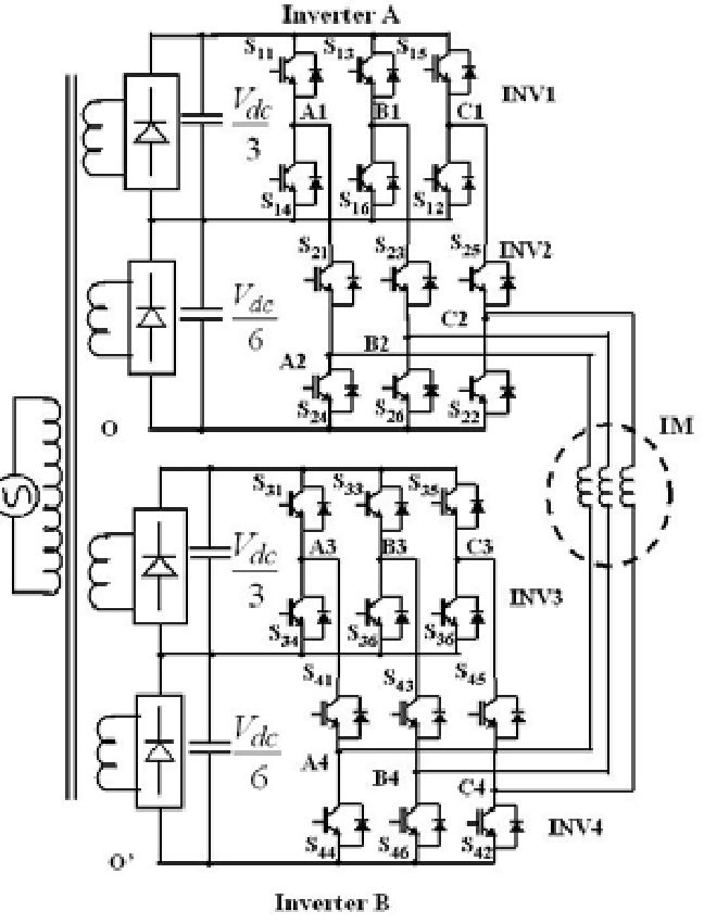 The schematic of the proposed seven-level inverter drive