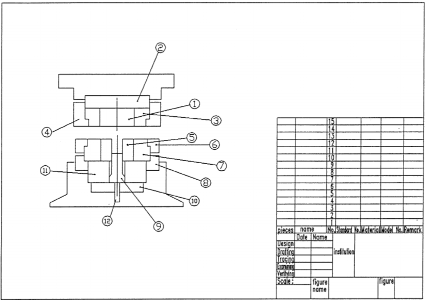 Die assembly drawing as well as bill of materials of