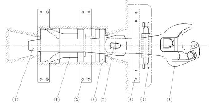 Coupling system assembly. 1 Yoke 2 Draft gear 3 Draft gear