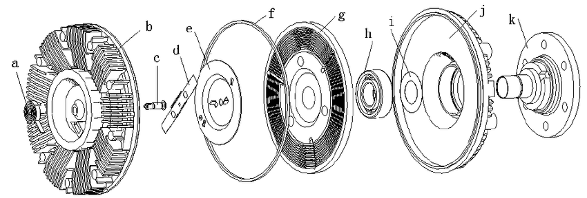 Silicon oil fan clutch assembly explosion diagram a