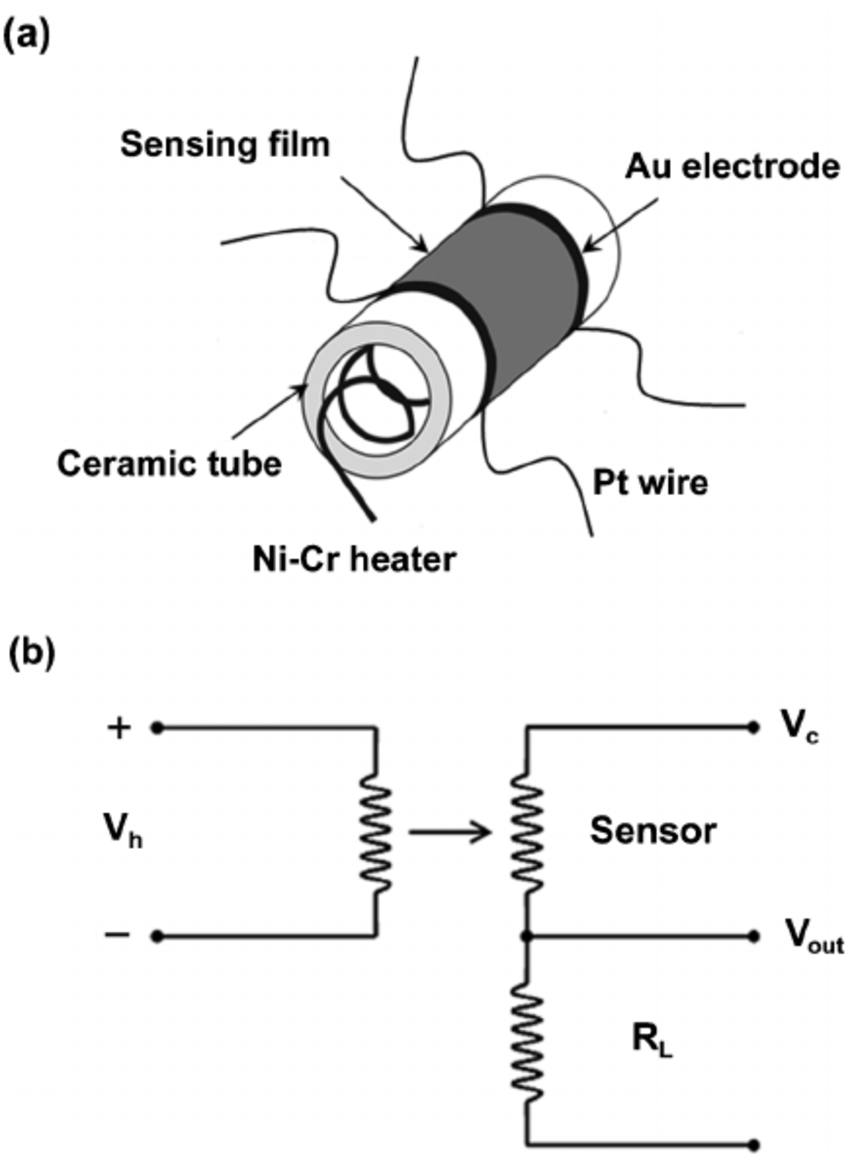 (a) Sketch of the gas sensor; (b) measuring electric